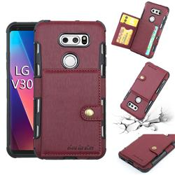 Brush Multi-function Leather Phone Case for LG V30 - Wine Red