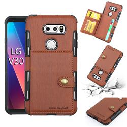 Brush Multi-function Leather Phone Case for LG V30 - Brown