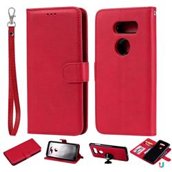Retro Greek Detachable Magnetic PU Leather Wallet Phone Case for LG V30 - Red