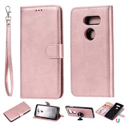 Retro Greek Detachable Magnetic PU Leather Wallet Phone Case for LG V30 - Rose Gold