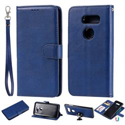 Retro Greek Detachable Magnetic PU Leather Wallet Phone Case for LG V30 - Blue