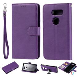 Retro Greek Detachable Magnetic PU Leather Wallet Phone Case for LG V30 - Purple