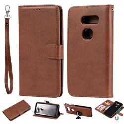 Retro Greek Detachable Magnetic PU Leather Wallet Phone Case for LG V30 - Brown