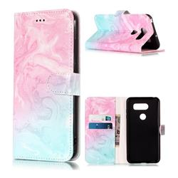 Pink Green Marble PU Leather Wallet Case for LG V30