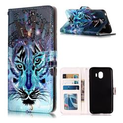 Ice Wolf 3D Relief Oil PU Leather Wallet Case for LG V30