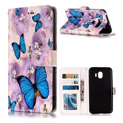 Purple Flowers Butterfly 3D Relief Oil PU Leather Wallet Case for LG V30