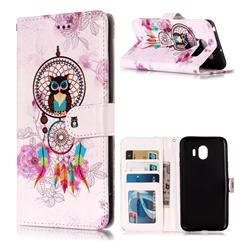 Wind Chimes Owl 3D Relief Oil PU Leather Wallet Case for LG V30