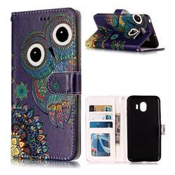 Folk Owl 3D Relief Oil PU Leather Wallet Case for LG V30