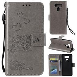 Embossing Owl Couple Flower Leather Wallet Case for LG V30 - Gray
