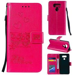 Embossing Owl Couple Flower Leather Wallet Case for LG V30 - Red