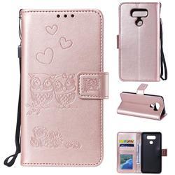 Embossing Owl Couple Flower Leather Wallet Case for LG V30 - Rose Gold