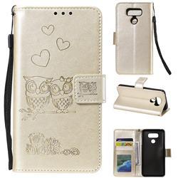 Embossing Owl Couple Flower Leather Wallet Case for LG V30 - Golden