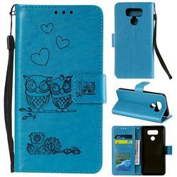 Embossing Owl Couple Flower Leather Wallet Case for LG V30 - Blue
