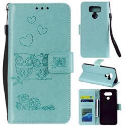 Embossing Owl Couple Flower Leather Wallet Case for LG V30 - Green