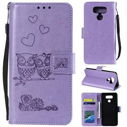 Embossing Owl Couple Flower Leather Wallet Case for LG V30 - Purple