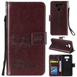 Embossing Owl Couple Flower Leather Wallet Case for LG V30 - Brown