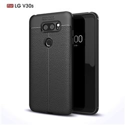 Luxury Auto Focus Litchi Texture Silicone TPU Back Cover for LG V30S ThinQ / V30S+ ThinQ - Black