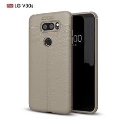 Luxury Auto Focus Litchi Texture Silicone TPU Back Cover for LG V30S ThinQ / V30S+ ThinQ - Gray