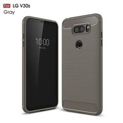 Luxury Carbon Fiber Brushed Wire Drawing Silicone TPU Back Cover for LG V30S ThinQ / V30S+ ThinQ - Gray