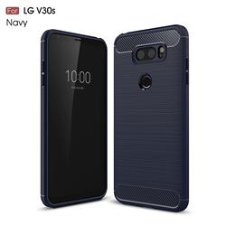 Luxury Carbon Fiber Brushed Wire Drawing Silicone TPU Back Cover for LG V30S ThinQ / V30S+ ThinQ - Navy