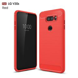 Luxury Carbon Fiber Brushed Wire Drawing Silicone TPU Back Cover for LG V30S ThinQ / V30S+ ThinQ - Red