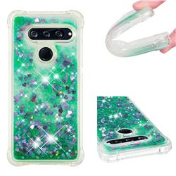 Dynamic Liquid Glitter Sand Quicksand TPU Case for LG V40 ThinQ - Green Love Heart