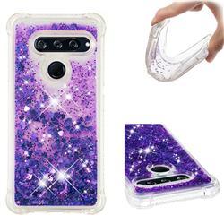 Dynamic Liquid Glitter Sand Quicksand Star TPU Case for LG V40 ThinQ - Purple
