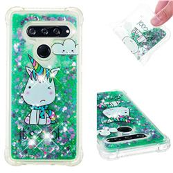 Tiny Unicorn Dynamic Liquid Glitter Sand Quicksand Star TPU Case for LG V40 ThinQ