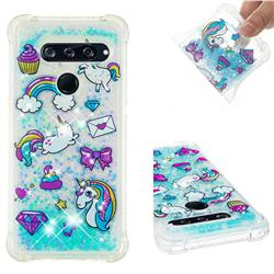 Fashion Unicorn Dynamic Liquid Glitter Sand Quicksand Star TPU Case for LG V40 ThinQ
