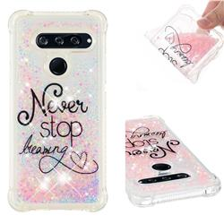 Never Stop Dreaming Dynamic Liquid Glitter Sand Quicksand Star TPU Case for LG V40 ThinQ