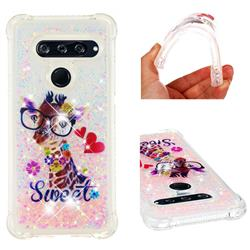 Sweet Deer Dynamic Liquid Glitter Sand Quicksand Star TPU Case for LG V40 ThinQ