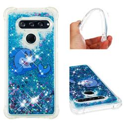 Happy Dolphin Dynamic Liquid Glitter Sand Quicksand Star TPU Case for LG V40 ThinQ