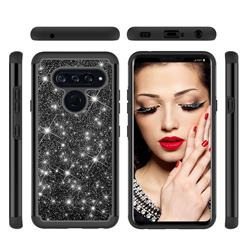Glitter Rhinestone Bling Shock Absorbing Hybrid Defender Rugged Phone Case Cover for LG V40 ThinQ - Black