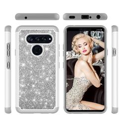 Glitter Rhinestone Bling Shock Absorbing Hybrid Defender Rugged Phone Case Cover for LG V40 ThinQ - Gray