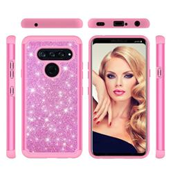 Glitter Rhinestone Bling Shock Absorbing Hybrid Defender Rugged Phone Case Cover for LG V40 ThinQ - Pink