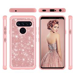 Glitter Rhinestone Bling Shock Absorbing Hybrid Defender Rugged Phone Case Cover for LG V40 ThinQ - Rose Gold