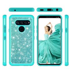 Glitter Rhinestone Bling Shock Absorbing Hybrid Defender Rugged Phone Case Cover for LG V40 ThinQ - Green