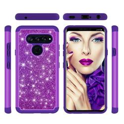 Glitter Rhinestone Bling Shock Absorbing Hybrid Defender Rugged Phone Case Cover for LG V40 ThinQ - Purple