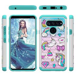 Fashion Unicorn Studded Rhinestone Bling Diamond Shock Absorbing Hybrid Defender Rugged Phone Case Cover for LG V40 ThinQ
