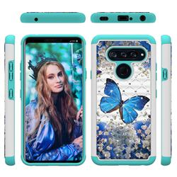 Flower Butterfly Studded Rhinestone Bling Diamond Shock Absorbing Hybrid Defender Rugged Phone Case Cover for LG V40 ThinQ