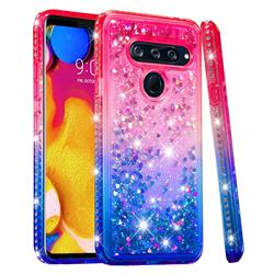 Diamond Frame Liquid Glitter Quicksand Sequins Phone Case for LG V40 ThinQ - Pink Blue