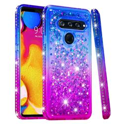 Diamond Frame Liquid Glitter Quicksand Sequins Phone Case for LG V40 ThinQ - Blue Purple