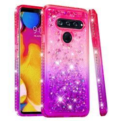 Diamond Frame Liquid Glitter Quicksand Sequins Phone Case for LG V40 ThinQ - Pink Purple