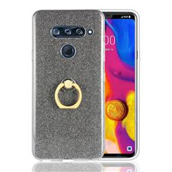 Luxury Soft TPU Glitter Back Ring Cover with 360 Rotate Finger Holder Buckle for LG V40 ThinQ - Black