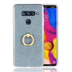 Luxury Soft TPU Glitter Back Ring Cover with 360 Rotate Finger Holder Buckle for LG V40 ThinQ - Blue