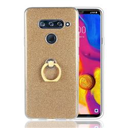 Luxury Soft TPU Glitter Back Ring Cover with 360 Rotate Finger Holder Buckle for LG V40 ThinQ - Golden