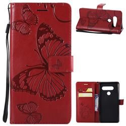 Embossing 3D Butterfly Leather Wallet Case for LG V40 ThinQ - Red