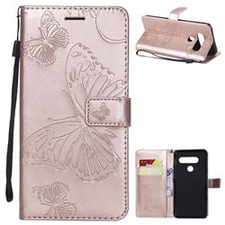 Embossing 3D Butterfly Leather Wallet Case for LG V40 ThinQ - Rose Gold