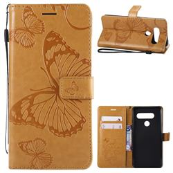 Embossing 3D Butterfly Leather Wallet Case for LG V40 ThinQ - Yellow