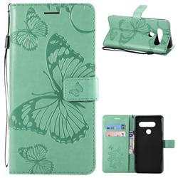 Embossing 3D Butterfly Leather Wallet Case for LG V40 ThinQ - Green
